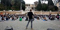 Sit in of the Italian students in Piazza del Popolo to ask for the reopening of the School, that was closed by the Government due to the Covid-19 pandemic.<br /> Rome(Italy), January 15th 2021<br /> Photo Samantha Zucchi/Insidefoto