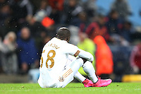 Mo Barrow look dejected at the end of the Barclays Premier League Match between Manchester City and Swansea City played at the Etihad Stadium, Manchester on 12th December 2015