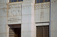 Los Angeles:  Los Angeles Branch of Federal Reserve Bank of San Francisco.  Designed by John and Donald Parkinson in a Classical Moderne style. Photo Dec. 1987.