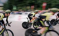 Team Mitchelton-Scott speeding off the start<br /> <br /> UCI MEN'S TEAM TIME TRIAL<br /> Ötztal to Innsbruck: 62.8 km<br /> <br /> UCI 2018 Road World Championships<br /> Innsbruck - Tirol / Austria