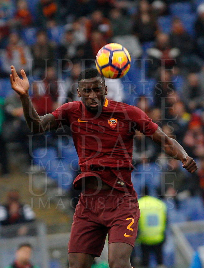 Roma's Antonio Ruediger heads the ball during the Italian Serie A football match between Roma and Napoli at Rome's Olympic stadium, 4 March 2017. <br /> UPDATE IMAGES PRESS/Riccardo De Luca
