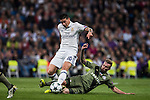 James Rodriguez (l) of Real Madrid competes for the ball with Thibault Moulin of Legia Warszawa during the 2016-17 UEFA Champions League match between Real Madrid and Legia Warszawa at the Santiago Bernabeu Stadium on 18 October 2016 in Madrid, Spain. Photo by Diego Gonzalez Souto / Power Sport Images
