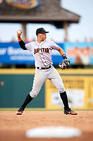 Jupiter Hammerheads shortstop Joe Dunand (3) throws to first base while warming up in between innings during a game against the Bradenton Marauders on May 25, 2018 at LECOM Park in Bradenton, Florida.  Jupiter defeated Bradenton 3-2.  (Mike Janes/Four Seam Images)