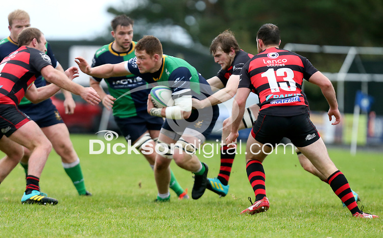 Saturday 3rd October 2020 | Hinch vs Armagh<br /> <br /> Zac Ward on the attack for Ballynahinch during their Ulster Senior League clash against Armagh at Ballymacarn Park, Ballynahinch, County Down, Northern Ireland. Photo by John Dickson / Dicksondigital