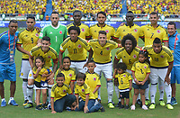 BARRANQUILLA - COLOMBIA -05-09-2017: Formación de Colombia ante Brasil , durante partido entre Colombia y Brasil por la fecha 16 de la clasificatoria a la Copa Mundial de la FIFA Rusia 2018 jugado en el estadio Metropolitano Roberto Melendez en Barranquilla. / Team of Colombia agaisnt Brasil ,  during the match between Colombia and Brazil for the date 16 of the qualifier to FIFA World Cup Russia 2018 played at Metropolitan stadium Roberto Melendez in Barranquilla.. Photo: VizzorImage / Alfonso Cervantes / Cont