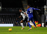3rd February 2021; Craven Cottage, London, England; English Premier League Football, Fulham versus Leicester City; Ricardo Pereira of Leicester City challenges Ademola Lookman of Fulham