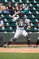 Winston-Salem Dash catcher Sean O'Connell (35) makes a throw to second base against the Carolina Mudcats at BB&T Ballpark on April 22, 2015 in Winston-Salem, North Carolina.  The Dash defeated the Mudcats 4-2..  (Brian Westerholt/Four Seam Images)