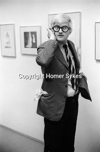 "David Hockney opening night show ""Recent Etchings"" at the Kasmin Gallery Bond Street London. 1969"