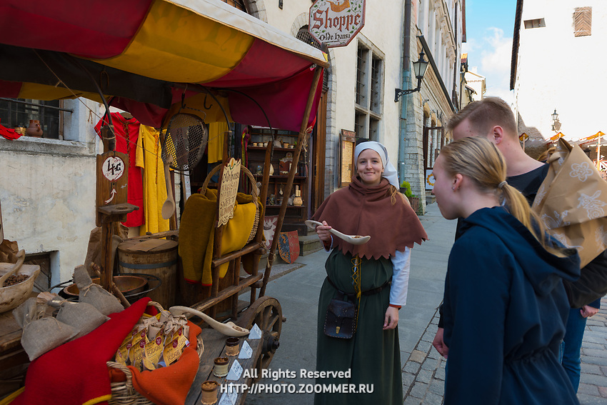 Medieval stalls with sweet almonds in Tallinn old town, Estonia
