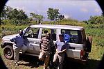 Rwanda MSH photography fellowship team:Feliz Nzitatira, logistics/driver; Dr. Moses Ahawe; and photographer Todd Shapera.