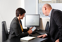 Cherie Coughlan with husband Chris at the business office in Skewen, Wales, UK
