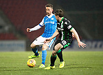St Johnstone v Hibs…16.03.18…  McDiarmid Park    SPFL<br />Chris Millar is closed down by Lewis Stevenson<br />Picture by Graeme Hart. <br />Copyright Perthshire Picture Agency<br />Tel: 01738 623350  Mobile: 07990 594431