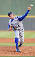 April 10, 2009: LHP Danny Duffy (12) of the Wilmington Blue Rocks, Class A affiliate of the Kansas City Royals, in a game against the Myrtle Beach Pelicans at BB&T Coastal Field in Myrtle Beach, S.C. Photo by:  Tom Priddy/Four Seam Images