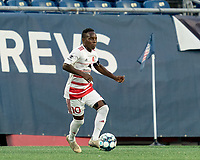 FOXBOROUGH, MA - AUGUST 21: Mutaya Mwape #10 of Richmond Kickers dribbles during a game between Richmond Kickers and New England Revolution II at Gillette Stadium on August 21, 2020 in Foxborough, Massachusetts.