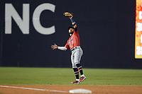 Jacksonville Jumbo Shrimp third baseman Eddy Alvarez (1) catches a pop fly during the game against the Durham Bulls at Durham Bulls Athletic Park on May 15, 2021 in Durham, North Carolina. (Brian Westerholt/Four Seam Images)