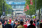 Norwich City 2 Middlesbrough 0, 25/05/2015. Wembley Stadium, Championship Play Off Final. Supporters of both clubs along Wembley Way. A match worth £120m to the victors. On the day Norwich City secured an instant return to the Premier League with victory over Middlesbrough in front of 85,656. Photo by Simon Gill.