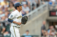 Michigan Wolverines pitcher Isaiah Paige (25) leaves the mound against the Vanderbilt Commodores during Game 2 of the NCAA College World Series Finals on June 25, 2019 at TD Ameritrade Park in Omaha, Nebraska. Vanderbilt defeated Michigan 4-1. (Andrew Woolley/Four Seam Images)