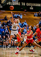 19 February 2020: University of Vermont Catamount Emma Utterback, a Freshman from Greenwood, IN, goes for a layup in second-half action against the Stony Brook Seawolves at Patrick Gymnasium in Burlington, Vermont. Emma scored 15 points in the game, but the Seawolves edged out the Lady Catamounts 72-68 in a closely matched America East Women's Basketball game. Mandatory Credit: Ed Wolfstein Photo *** RAW (NEF) Image File Available ***