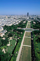 City buildings seen from the Eiffel Tower including the Montparnasse Tower and Champ de Mars, Paris, France.