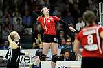 Rüsselsheim, Germany, April 13: Michelle Bartsch #4 of the Rote Raben Vilsbiburg spikes the ball during play off Game 1 in the best of three series in the semifinal of the DVL (Deutsche Volleyball-Bundesliga Damen) season 2013/2014 between the VC Wiesbaden and the Rote Raben Vilsbiburg on April 13, 2014 at Grosssporthalle in Rüsselsheim, Germany. Final score 0:3 (Photo by Dirk Markgraf / www.265-images.com) *** Local caption ***