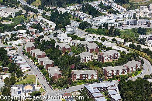 aerial photograph Diamond Heights Village residential neighborhood San Francisco California