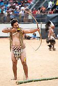 A Maori contestant from New Zealand takes aim during the archery contest at the International Indigenous Games, in the city of Palmas, Tocantins State, Brazil. Photo © Sue Cunningham, pictures@scphotographic.com 25th October 2015