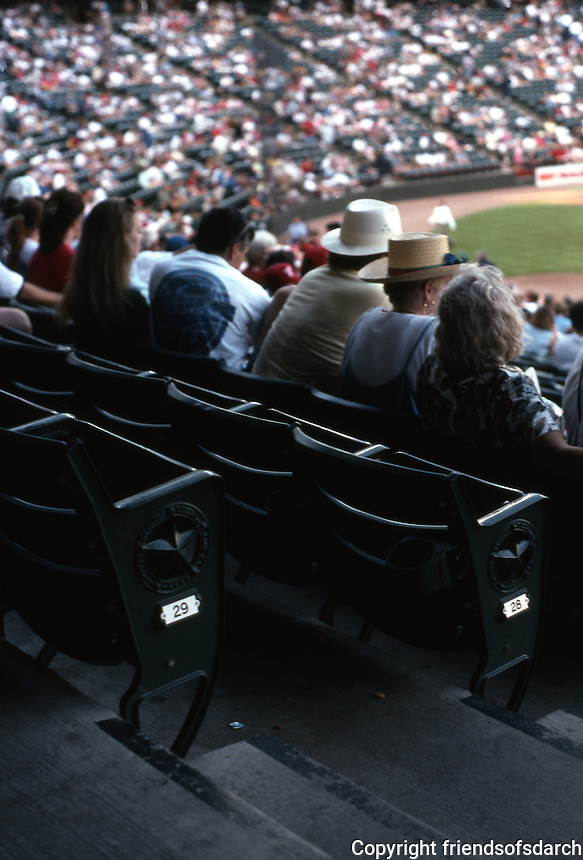Ballparks: Arlington, TX. The Ballpark. The seats--faux cast iron & wood, all painted traditional green.