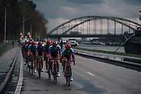 Team Katusha-Alpecin controlling the front of the peloton to provide 5-time Scheldeprijs winner Marcel Kittel a perfect launchpad for the finale<br /> <br /> 106th Scheldeprijs 2018 (1.HC)<br /> 1 Day Race: Terneuzen (NED) - Schoten (BEL)(200km)