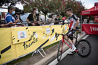 Brent Van Moer (BEL/Lotto Soudal) interviewed at the finish in Nîmes<br /> <br /> Stage 12 from Saint-Paul-Trois-Châteaux to Nîmes (159km)<br /> 108th Tour de France 2021 (2.UWT)<br /> <br /> ©kramon