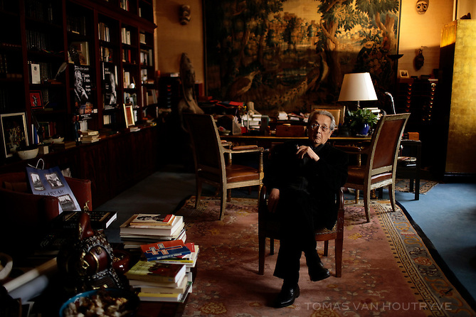 """Jacques Verges, the defense lawyer for many infamous war criminals and terrorists, who represented in court the Khmer Rouge, Carlos """"The Jackal,"""" Klaus Barbie, and Roger Garaudy, is seen in his law office in Paris, France on March 20, 2012."""