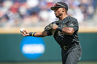 Vanderbilt Commodores second baseman Harrison Ray (2) makes a throw to first base during Game 8 of the NCAA College World Series against the Mississippi State Bulldogs on June 19, 2019 at TD Ameritrade Park in Omaha, Nebraska. Vanderbilt defeated Mississippi State 6-3. (Andrew Woolley/Four Seam Images)