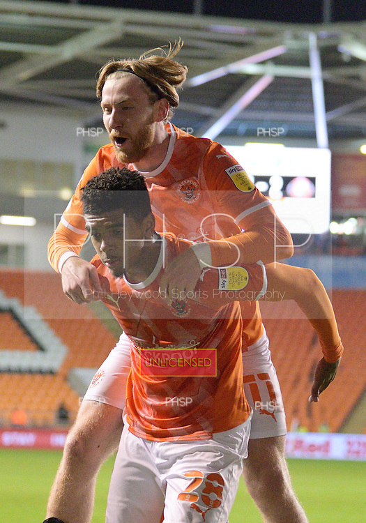 24/08/2021 Carabao Cup 2nd Round Blackpool v Sunderland <br /> <br /> Josh Bowler celebrates Wirth Tyreece John-Jules after scoring the second goal for Blackpool