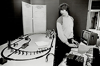 1985 FILE PHOTO - ARCHIVES -<br /> <br /> Computer-powered choo-choo; Brian Varga; 17; of Owen Sound Collegiate and Vocational Institute; punches in the power for his computer-controlled hobby train. He and other high school and college students are showing off their award-winning projects at the Technion Science Fair; being staged this week at the Science Centre.<br /> <br /> 1985<br /> <br /> PHOTO :  Erin Comb - Toronto Star Archives - AQP