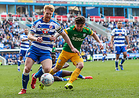 Preston North End's Sean Maguire competing with Reading's Paul McShane <br /> <br /> Photographer Andrew Kearns/CameraSport<br /> <br /> The EFL Sky Bet Championship - Reading v Preston North End - Saturday 30th March 2019 - Madejski Stadium - Reading<br /> <br /> World Copyright © 2019 CameraSport. All rights reserved. 43 Linden Ave. Countesthorpe. Leicester. England. LE8 5PG - Tel: +44 (0) 116 277 4147 - admin@camerasport.com - www.camerasport.com