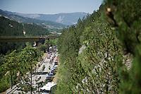 the breakaway group against the Drôme backdrop<br /> <br /> stage 16: Bourg de Péage - Gap (201km)<br /> 2015 Tour de France