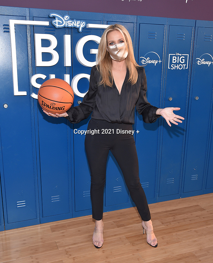 """LOS ANGELES, CA - APRIL 14: Jessalyn Gilsig attends the world premiere drive-in screening of the Disney + original series """"BIG SHOT"""" at The Grove in Los Angeles, California on April 14, 2021. (Photo by Stewart Cook/Disney +/PictureGroup)"""