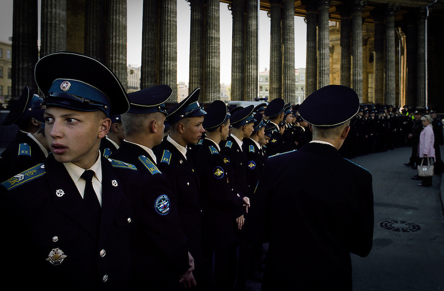 Recruits from the Russian Space Forces gathered in St Petersburg, Russia.