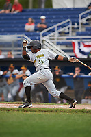 West Virginia Black Bears second baseman Raul Siri (55) at bat during a game against the Batavia Muckdogs on June 25, 2017 at Dwyer Stadium in Batavia, New York.  Batavia defeated West Virginia 4-1 in nine innings of a scheduled seven inning game.  (Mike Janes/Four Seam Images)