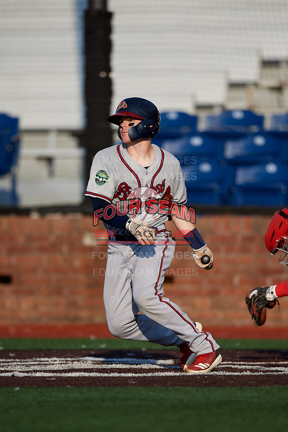 Danville Braves catcher Zack Soria (4) follows through on a swing during a game against the Johnson City Cardinals on July 29, 2018 at TVA Credit Union Ballpark in Johnson City, Tennessee.  Johnson City defeated Danville 8-1.  (Mike Janes/Four Seam Images)