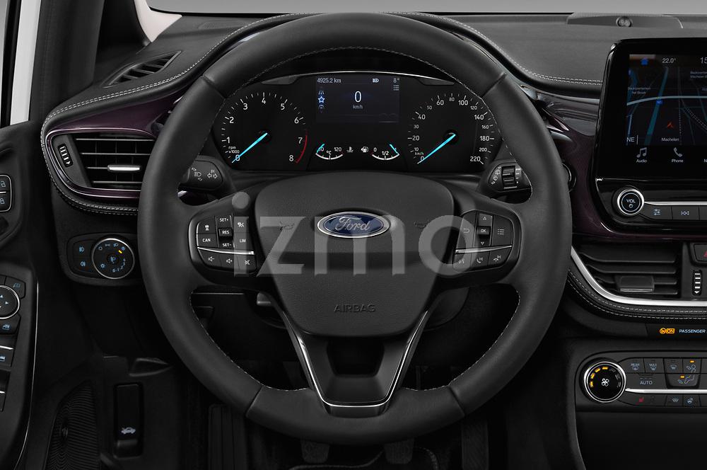 Car pictures of steering wheel view of a 2018 Ford Fiesta Vignale Base 5 Door Hatchback