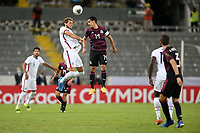 GUADALAJARA, MEXICO - MARCH 24: James Marcinkowski #1 of the United States goes up for a header with Erick Aguirre #14 of Mexico during a game between Mexico and USMNT U-23 at Estadio Jalisco on March 24, 2021 in Guadalajara, Mexico.