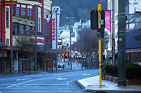 Courtenay Place, Wellington CBD, at 7.30am during Level 4 lockdown for the COVID-19 pandemic in Wellington, New Zealand on Wednesday, 25 August 2021.