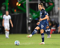 LAKE BUENA VISTA, FL - AUGUST 01: James Sands #16 of New York City FC passes the ball during a game between Portland Timbers and New York City FC at ESPN Wide World of Sports on August 01, 2020 in Lake Buena Vista, Florida.