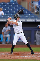 Peoria Javelinas outfielder Tyler O'Neill (4) at bat during an Arizona Fall League game against the Mesa Solar Sox on October 21, 2015 at Peoria Stadium in Peoria, Arizona.  Peoria defeated Mesa 5-3.  (Mike Janes/Four Seam Images)