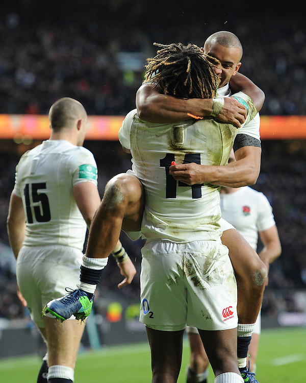 Marland Yarde of England is congratulated by Jonathan Joseph of England after scoring a try during the Old Mutual Wealth Series match between England and Australia at Twickenham Stadium on Saturday 3rd December 2016 (Photo by Rob Munro)