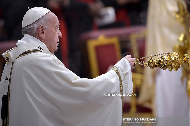 Pope Francis during the mass. the Solemnity of Epiphany at St Peter's basilica at the Vaticanon January 6, 2020