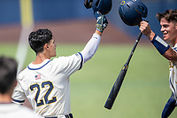 Michigan Wolverines outfielder Tito Flores (22) is greeted at the plate by teammate Benjamin Sems (3) after hitting a home run against the Maryland Terrapins on May 23, 2021 in NCAA baseball action at Ray Fisher Stadium in Ann Arbor, Michigan. Maryland beat the Wolverines 7-3. (Andrew Woolley/Four Seam Images)