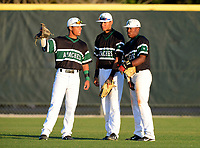 Arlington Country Day Apaches outfielders (L-R) Iramis Olivencia, Fernando Garica, and Bernardo Bonifacio during a game against IMG Academy at IMG Academy on March 5, 2013 in Bradenton, Florida.  (Mike Janes/Four Seam Images)