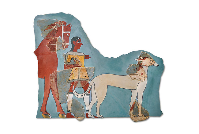 Mycenaean Fresco wall painting of a Mycanaean footman leading a horse & hunting dog,  Tiryns, Greece. 14th - 13th Century BC. Athens Archaeological Museum. Cat No 5878.  White Background.