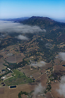 aerial photograph of vineyards at the base of Mount St. Helena, Calistoga, California